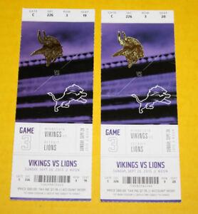 Minnesota Vikings Ticket Stub   September 20 2015   Matthew Stafford 2 TD