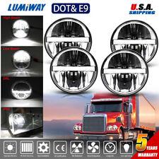 "90W 5.75""inch Round Led Headlight (x4) Hi/Lo Beam Projector Lamp For Peterbilt"