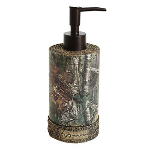 Realtree Xtra Lotion Pump Resin Soap Dispenser Camo Faux-Wood Rustic Country Den