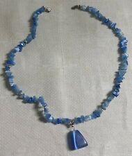 "Silvertone Metal Bead Blue Moonstone Chip Bead Triangle Pendant 17"" Necklace"
