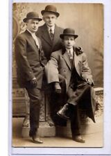 Studio Real Photo Postcard RPPC - Dapper Men Bowler Hats Gloves and Cigarette