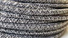 50m Design Zugpendel Textilkabel 2-adrig 2x0,75 Schwarz-Weiss Top EU Qualität