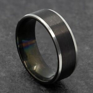 8mm Black Stainless Steel Mens Womens Wedding Ring - Silver Edges - Sizes M to Y