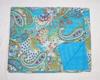 Indian Handmade Paisley Print Queen Kantha Quilt Throw Bedding Blanket Bedspread