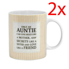 2 X ONLY AN AUNTIE CAN GIVE HUGS COFFEE TEA MUG KITCHEN GIFT PRESENT CERAMIC NEW