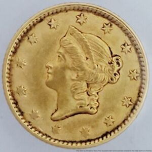 1853 $1 One Dollar Gold Vintage Coin Liberty Coronet United States Of America