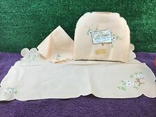 More details for finest embroidered irish linen tray cloth, napkin and tea cosy vintage retro