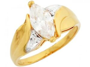 10k or 14k Yellow Gold Marquise CZ Engagement Ring with Round Cut Side Detail