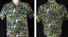 Hula Girl Hawaiian Aloha SS Shirt M Button Front Floral Toucan Cockatoo Birds