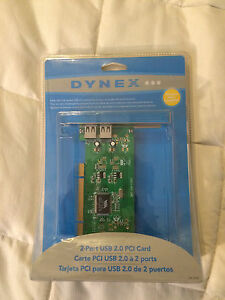 NEW DYNEX 2 PORT USB 2.0 PCI CARD W/ EXTERNAL PORTS!