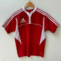 ADIDAS Climacool soccer boy's three stripe short sleeve red t-shirt size 14