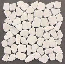 "Snow White Pebble Flat Tile 12""x12""  Stone Mosaic Wall Shower Floor Back Splash"