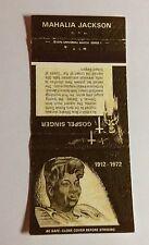 "1 30 stick MATCH COVER EMPTY ""GOSPEL SINGER MAHALIA JACKSON  NM/MINT #12"