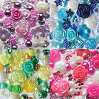 50 x Mixed Flatbacks Embellishments Card making  flowers hearts Buy 4 get 1 free
