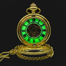 Gold Skeleton Hand Winding Luminous Hands For Mens Automatic Pocket Watch
