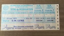 Ticket OM - LENS 1986 / 1987 Billet Match Foot Marseille années 90 football