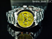 Invicta Men's 40mm SPEEDWAY DRAGSTER Chronograph YELLOW DIAL Silver Tone Watch