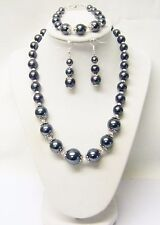 Graduated Smoke Glass Pearl Choker Necklace/Bracelet/Earrings