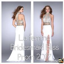 MUST SEE White Sequenced Two-Piece Prom Gown with Leg Slit and Trail!