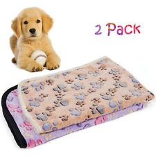2 Pack 30 x 21 Inches Pet Dog Cat Puppy Blanket Cute Paw Print Pattern