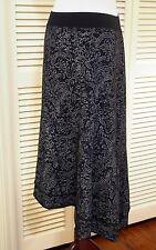 SM FRESH PRODUCE Beach Haven Tea Length Tango Skirt Black Gray EUC