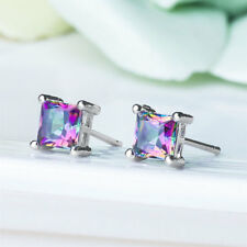 1 Pair Silver Plated Multicolor Square Cubic Zirconia Woman's Stud Earrings Gift