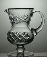 VINTAGE EDINBURGH CRYSTAL CUT GLASS JUG/ PITCHER WITH HANDLE  15.8 CM TALL
