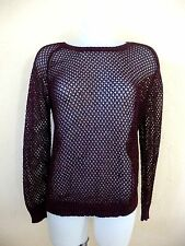 BEL AIR - PULL MAILLE BORDEAUX BRILLANT - TAILLE 1 soit 36fr