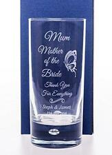 Engraved MOTHER OF THE BRIDE/GROOM Wedding Butterfly Highball Glass Gift