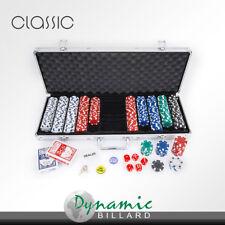 Aluminium Pokerkoffer-Set mit 500 Pokerchips, 2 Kartensets und 5 Würfeln