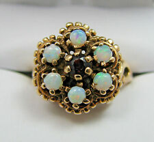 Beautiful Vintage Antique 10k Yellow Gold Opal & Garnet Ladies Ring Sz 6.25