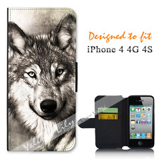 Apple iPhone 4 4G 4S Wallet Flip Phone Case Cover Wolf Portrait Y00945