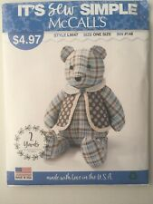 """McCall's 9547 Memory Teddy Bear with Vest Sewing Pattern Uncut 18"""""""