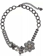BETSEY JOHNSON 'Blackout' Jet Black Cutout Flower Skull Cluster Collar Necklace