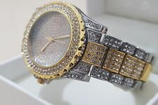 9a744385dc6 Men s 14k Gold Plated Iced Out MENS Silver Shiny Bling Bling Ice Diamond  watch