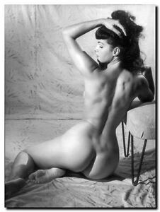 """Bettie Page Vintage Pinup *FRAMED* CANVAS ART 24x16"""" Black & White photo F"""