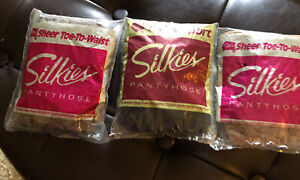 VTG Pantyhose Lot 3 Silkies Packages Nylon X-Queen Beige Taupe Jet Black