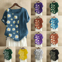 UK Womens Summer Cotton Linen Floral Tops Ladies Loose Blouse T Shirts Plus Size