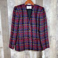 Lord & Taylor Women 2P Petite Blazer Red Plaid Tweed Shoulder Pads Wool NEW