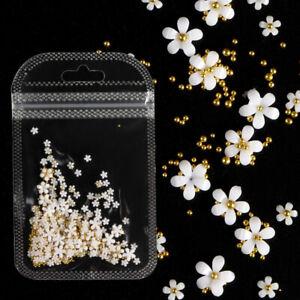 White Acrylic Flower Nail Art Decoration Mixed Size Manicure DIY Nails Design