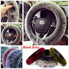 Universal Non-Slip Rabbit Fur Car Steering Wheel Covers Winter Warm Soft Plush