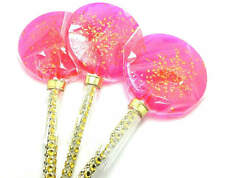 """12 - LARGE 2.5"""" LOLLIPOPS ON BLING STICK with GOLD GLITTER - Variety of Colors"""