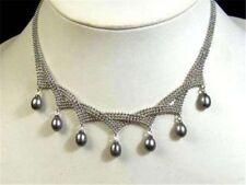 Charming!7-9MM Black Akoya pearl pendant necklace18'' JN367