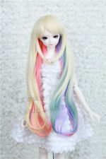 BJD Wig Goddess Hair Pale Gold Gradient Color for 1/3 1/4 1/6 BJD Doll Rainbow