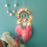 Handmade Dreamcatcher Feathers Night Light Car Wall Hanging Room Home Wall Decor