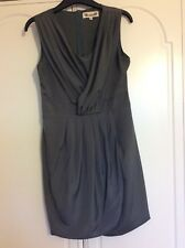 AngelEye Silky Grey Sleeveless Fully Lined Tulip Wrap Dress Size S