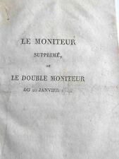 Le MONITEUR suprimé ou le DOUBLE MONITEUR n° 20 du 20 Janvier 1814
