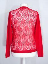 Ladies lace back long sleeve fine knit orange summer cardigan size M UK 14 16