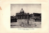 """1903 Antique Art Photo Print St. Peter's Cathedral Vatican Dodd Mead Co. 10""""X 6"""""""