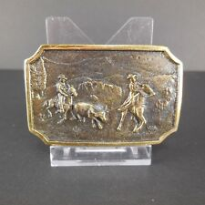 Vintage BTS Belt Buckle Horse Riding Cowboys Roping Roundup Horn Steer Cow